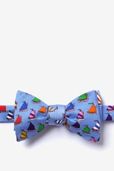 Blue Silk Rainbow Fleet Self Tie Bow Tie