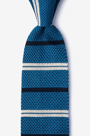 Roman Stripe Blue Knit Tie