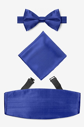 Royal Blue Pretied Bow Tie Cummerbund Set