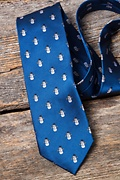 Snowman Print Blue Extra Long Tie Photo (3)