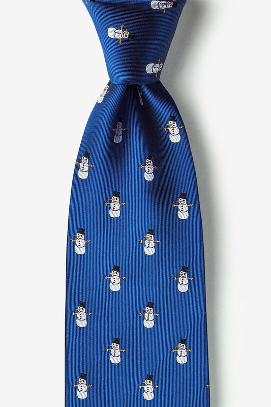 Snowman Print Blue Extra Long Tie Photo (0)