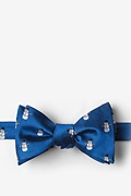 Blue Silk Snowman Print Self-Tie Bow Tie