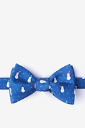 Blue Silk Snowmen in the Snow Self-Tie Bow Tie