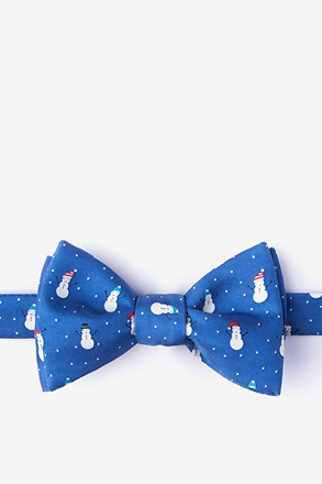 Snowmen in the Snow Blue Self-Tie Bow Tie