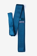 Textured Solid Blue Knit Skinny Tie Photo (1)