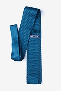 Textured Solid Blue Knit Tie Photo (1)