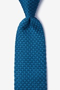 Textured Solid Blue Knit Tie Photo (0)