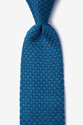 Textured Solid Blue Knit Tie