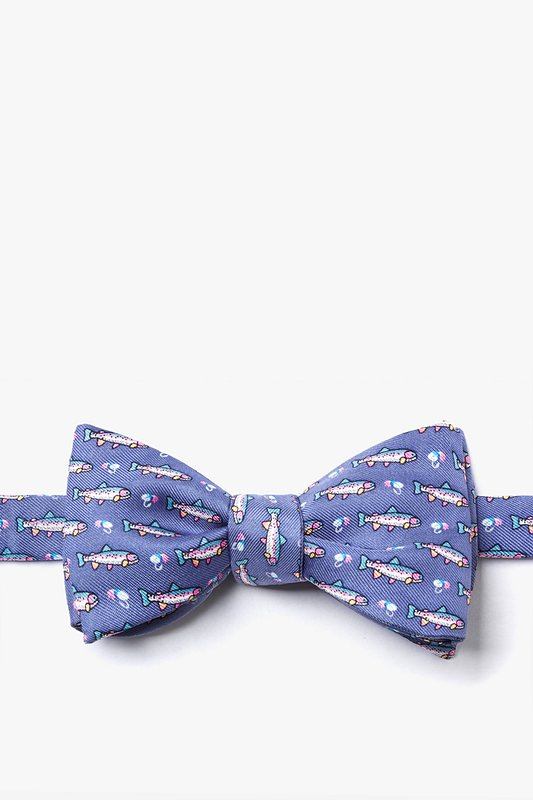 Trout & Fly Blue Self-Tie Bow Tie Photo (0)