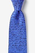 Blue Silk U.S. Presidential Signatures Extra Long Tie