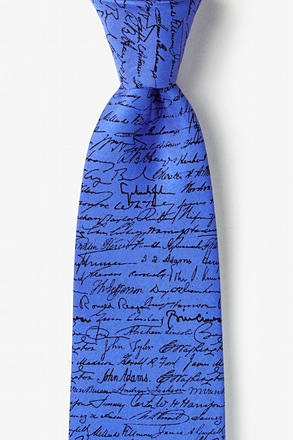U.S. Presidential Signatures Blue Extra Long Tie