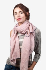 Blush Viscose Contrast Stitch Scarf