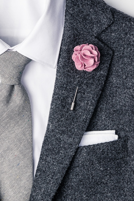 Bridal Rose Wool Felt Flower Lapel Pin