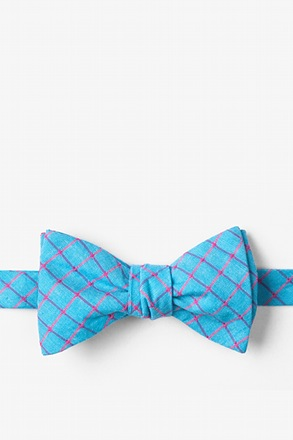 Bright Blue Stuart Check Butterfly Bow Tie