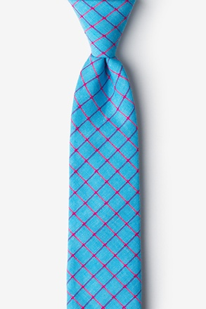 Bright Blue Stuart Check Skinny Tie