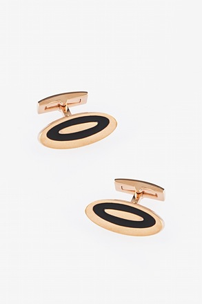 Lengthened Oval Bright Gold Cufflinks