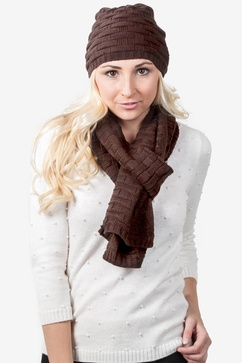 Basketweave Brown Scarf And Hat Set