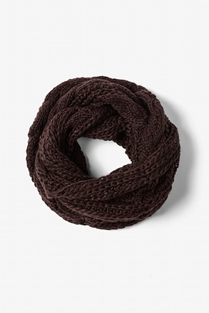 Brown Geneva Cable Knit Infinity Scarf