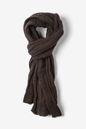 Brown Seattle Striped Knit Scarf