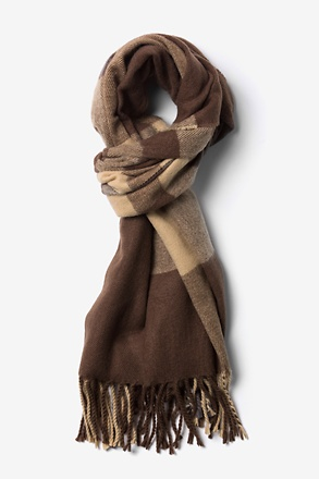 Brown York Fringed Scarf