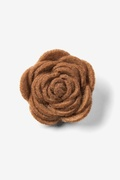 Brown Felt Flower Lapel Pin