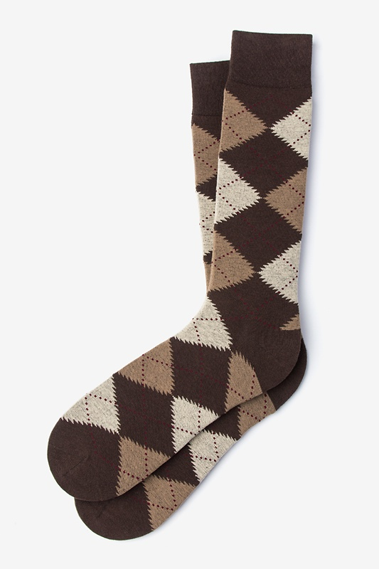 Argyle Assassin Brown Sock