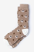 Brown Carded Cotton But First, Coffee Women's Sock