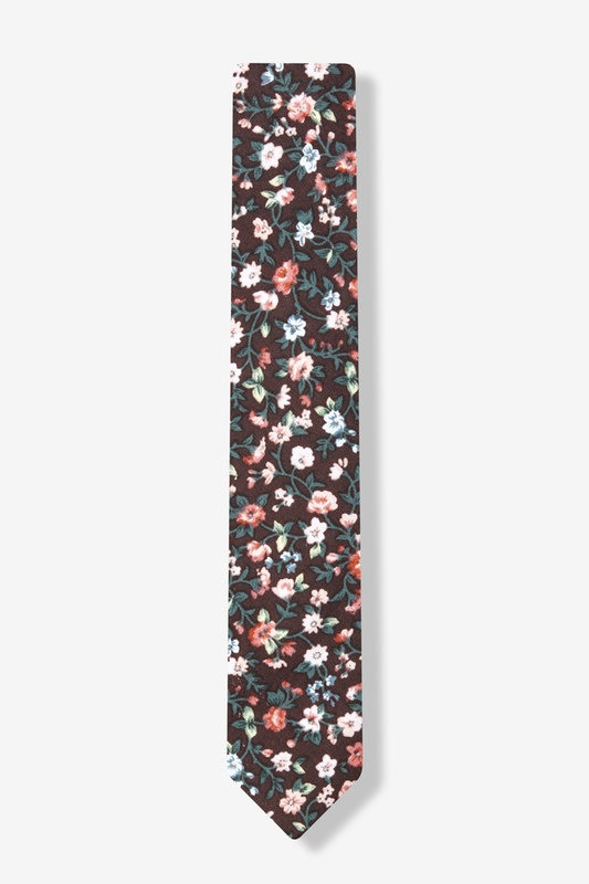 52ffaace29d6 Brown Cotton August Floral Skinny Tie   Ties.com