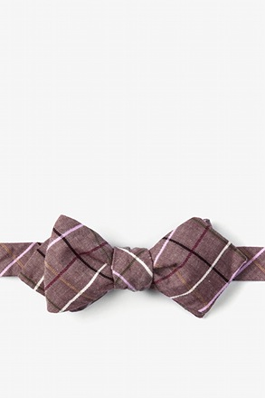 Brown Checkers Diamond Tip Bow Tie