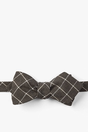 Brown Philip Check Diamond Tip Bow Tie
