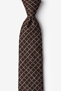 Brown Cotton Glendale Extra Long Tie