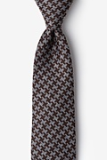 Brown Cotton Tempe Extra Long Tie