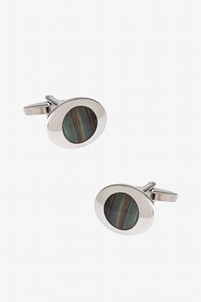 Colored Rounded Oval Brown Cufflinks