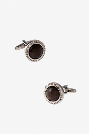 Round Ornate Button Brown Cufflinks