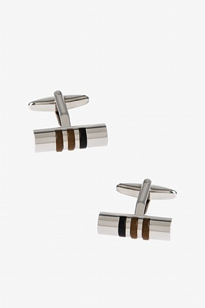 Solid Striped Cylinder Brown Cufflinks