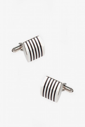 _Solid Striped Rectangular Cufflinks_