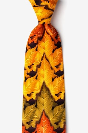Autumn Leaves Tie - Brown Microfiber
