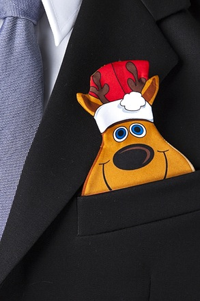 Reindeer Pocket Pal Brown Pocket Square Card