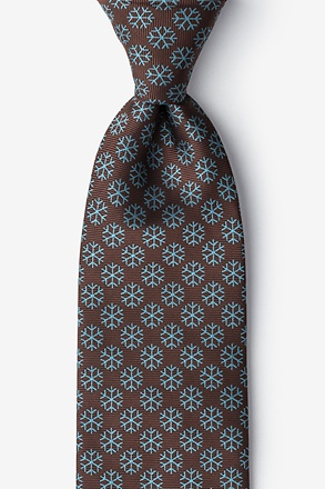 Snowflakes Brown Extra Long Tie