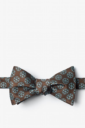 Snowflakes Brown Self-Tie Bow Tie