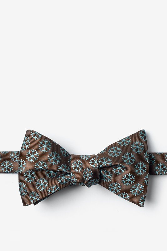 Snowflakes Brown Self-Tie Bow Tie Photo (0)