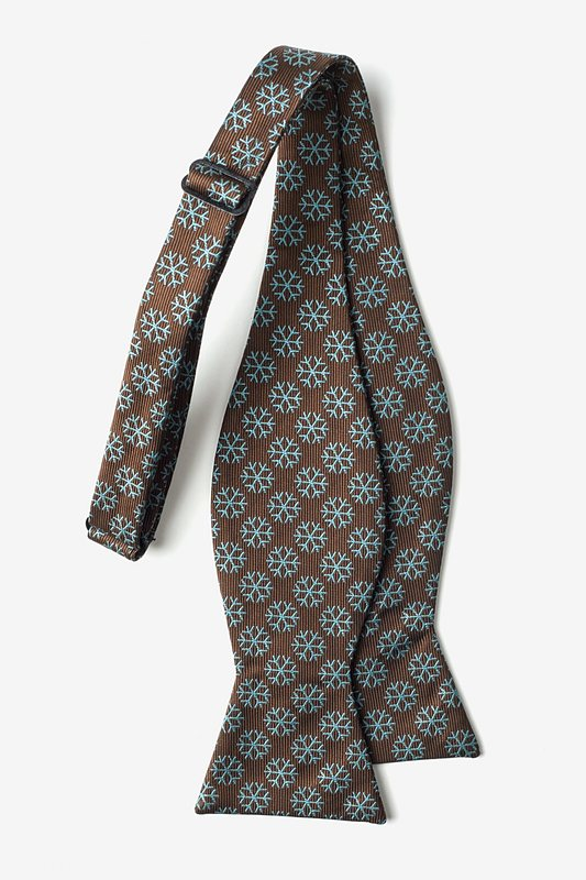 Snowflakes Brown Self-Tie Bow Tie Photo (1)