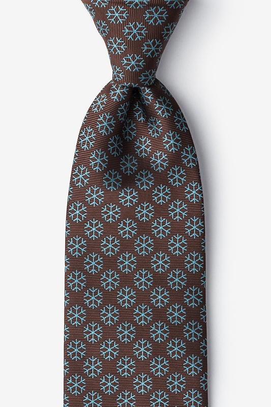Snowflakes Brown Tie Photo (0)