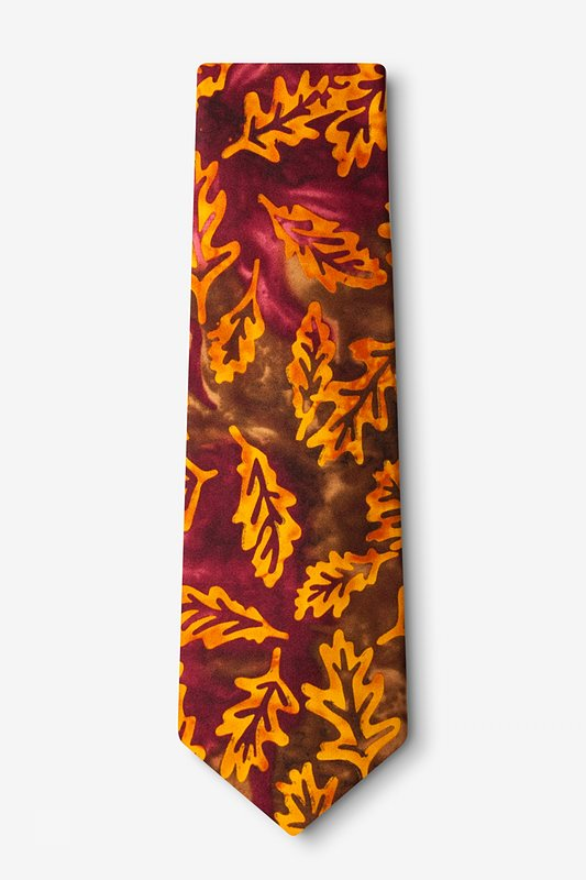 Stamped Fall Leaves Brown Extra Long Tie Photo (1)