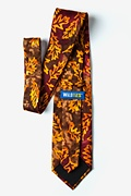 Stamped Fall Leaves Brown Extra Long Tie Photo (2)