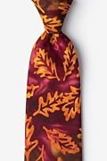 Stamped Fall Leaves Brown Extra Long Tie Photo (0)
