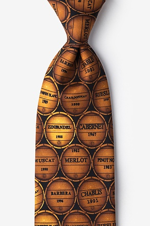 _Wine Barrels Brown Tie_