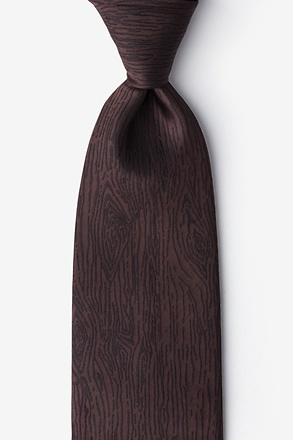 _Wood Grain Brown Extra Long Tie_