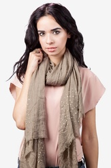 Brown Polyester Taza Studded Scarf
