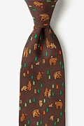 Bear Necessities Brown Extra Long Tie Photo (0)
